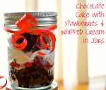 Chocolate cake with strawberries & whipped cream in jars via Pale Yellow
