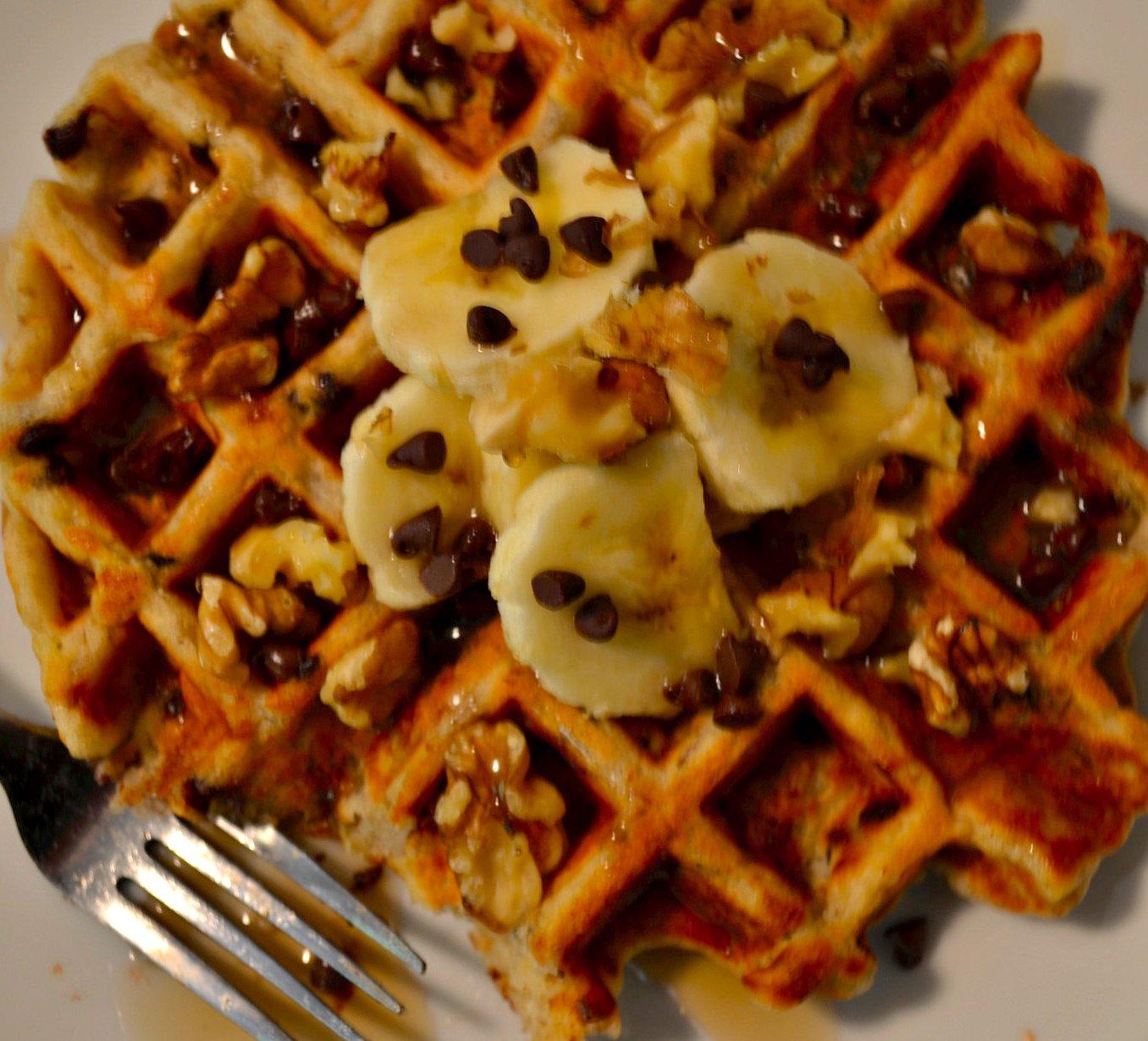 Banana Nut Waffles via Pale Yellow