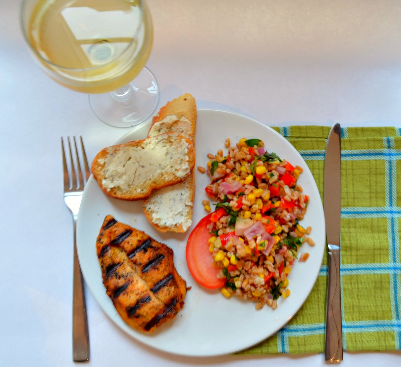 ... Chicken and Roasted Corn & Red Pepper Farro Salad — Pale Yellow