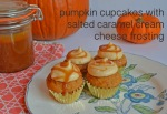 pumpkin cupcakes with salted caramel cream cheese frosting // pale yellow