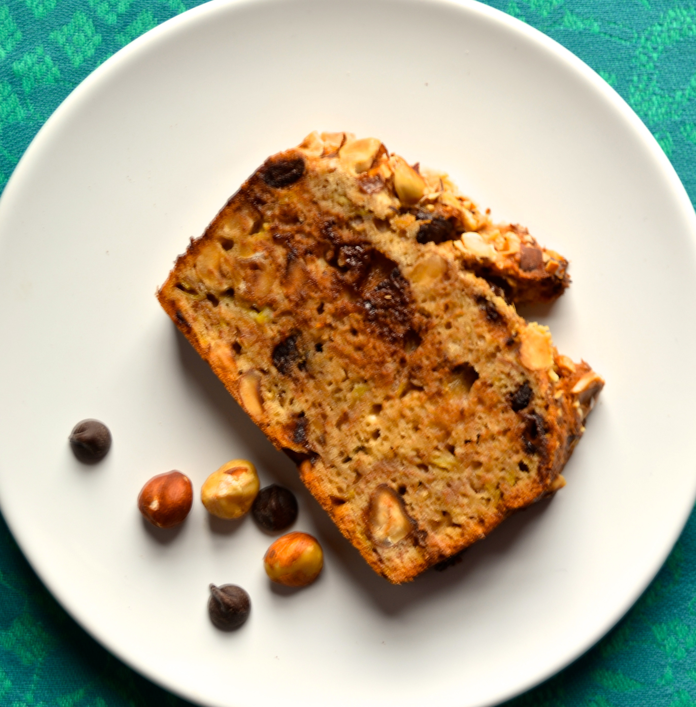 Banana Nut Bread with Hazelnuts and Chocolate // Pale Yellow
