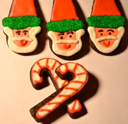 Chocolate Sugar Cookie Santas // Pale Yellow