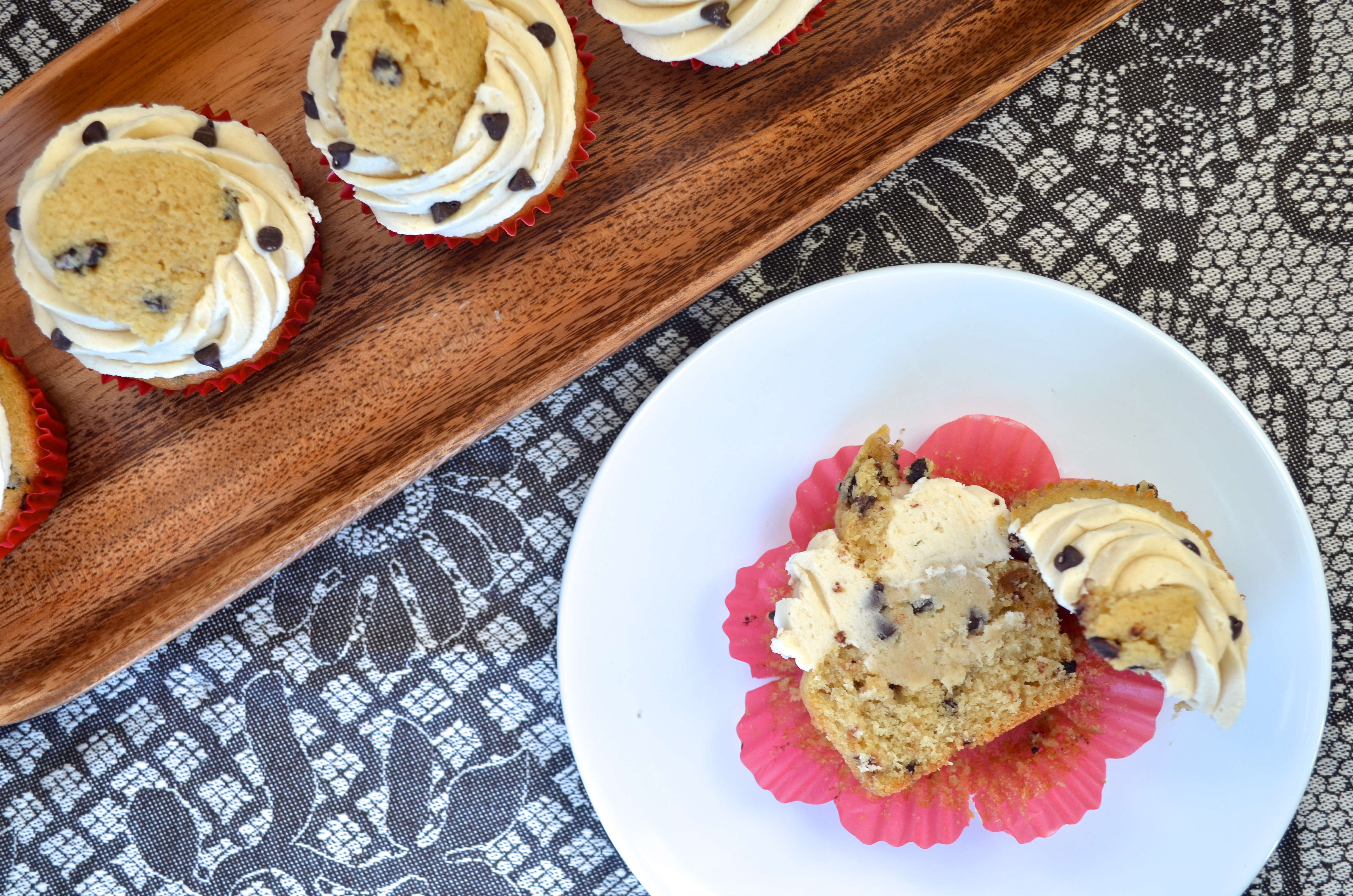 ChChocolate Chip Cookie Dough Cupcakes // Pale Yellow