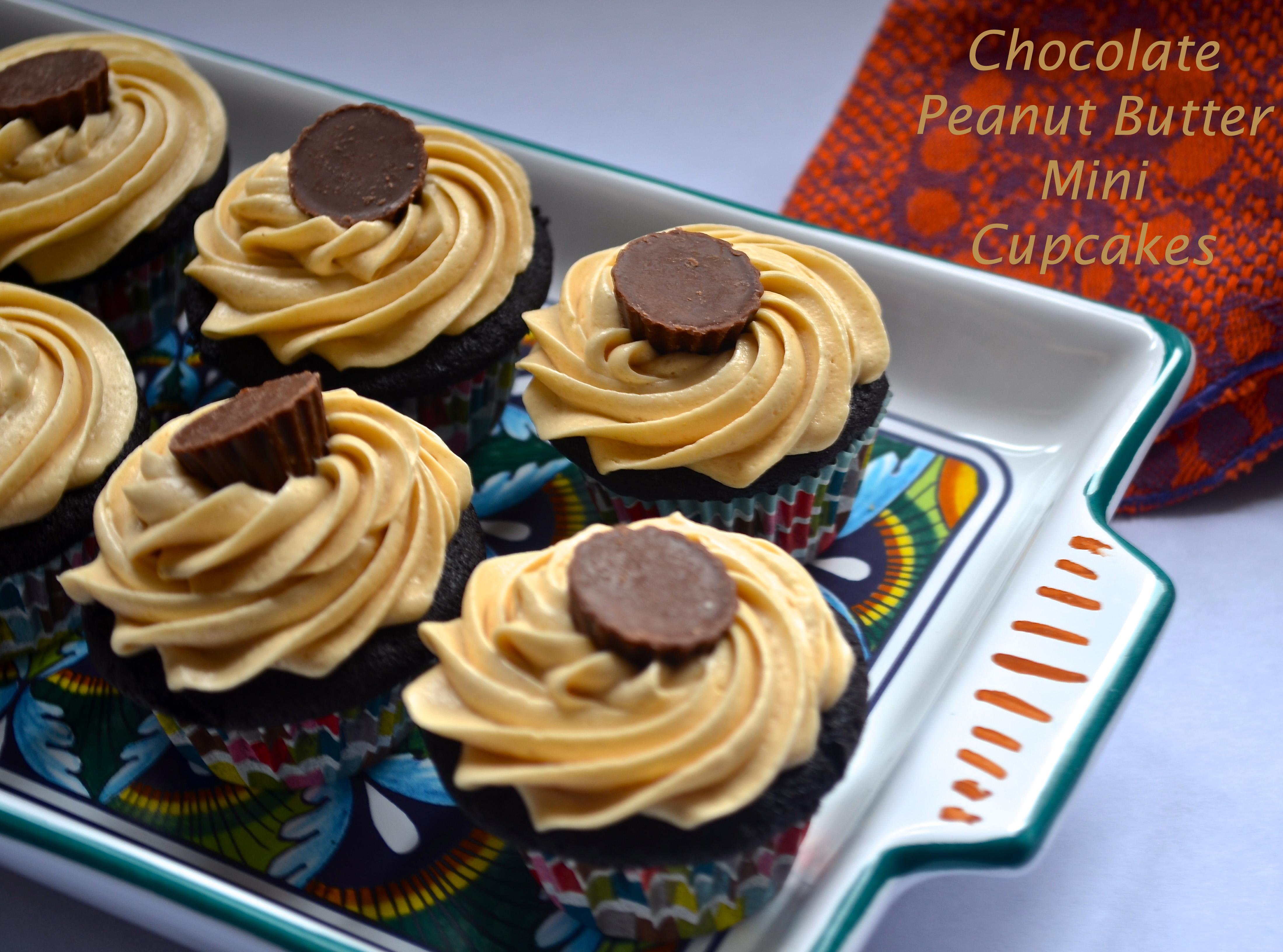 chocolate peanut butter mini cupcakes // pale yellow