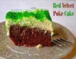 red velvet poke cake // pale yellow