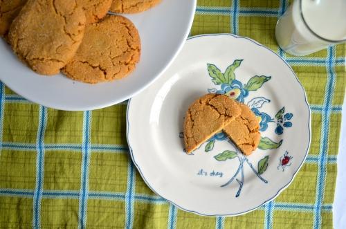 peanut butter stuffed peanut butter cookies // pale yellow