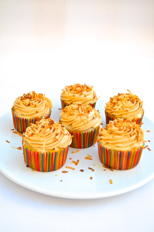 Tres Leche Cupcakes with Dulce de Leche Swiss Meringue Buttercream | Pale Yellow