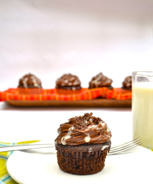 death by chocolate cupcakes | pale yellow {rich chocolate cake, chocolate ganache, and dark chocolate buttercream}