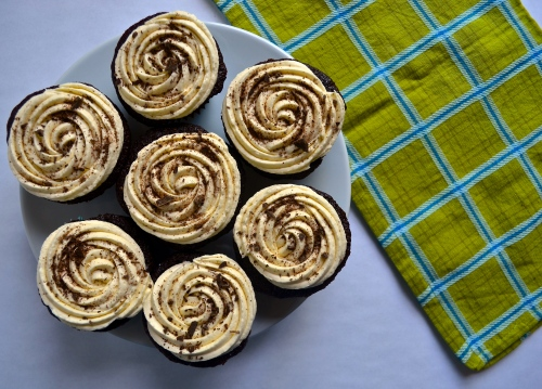 Irish Coffee Cupcakes | Pale Yellow {Chocolate cupcake, whiskey ganache, & bailey's buttercream}