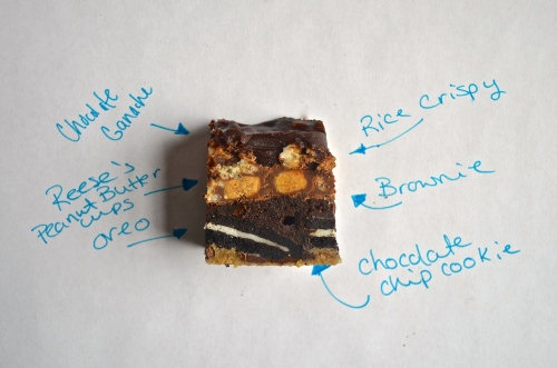 man whore bars | pale yellow {chocolate chip cookie, oreo, brownie, peanut butter cups, rice krispy treats, & ganache}