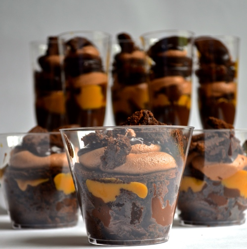 sinful chocolate trifle | Pale Yellow {devil's food chocolate cake, milk chocolate marshmallow butter cream, and chocolate pastry cream three ways with dulce de leche, whiskey, and coffee}