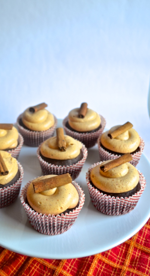 spicy chocolate cupcakes | pale yellow {a chocolate cupcake studded with pepper and a cinnamon-cayenne cream cheese frostin}