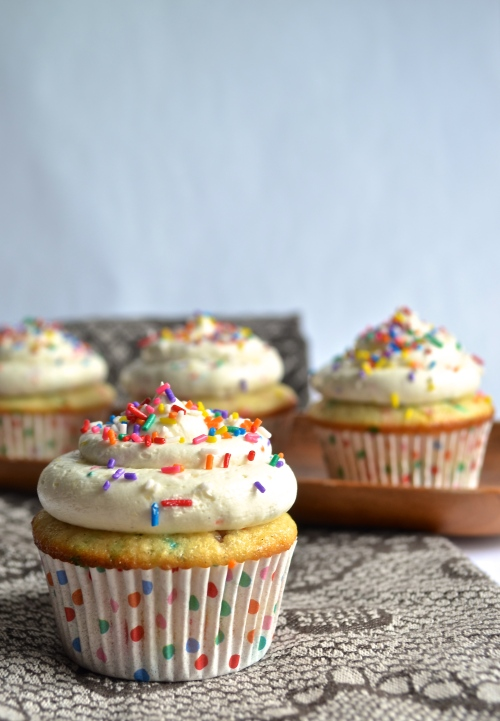 funfetti cupcakes | pale yellow {vanilla cupcakes and frosting filled with lots of colorful sprinkles!}