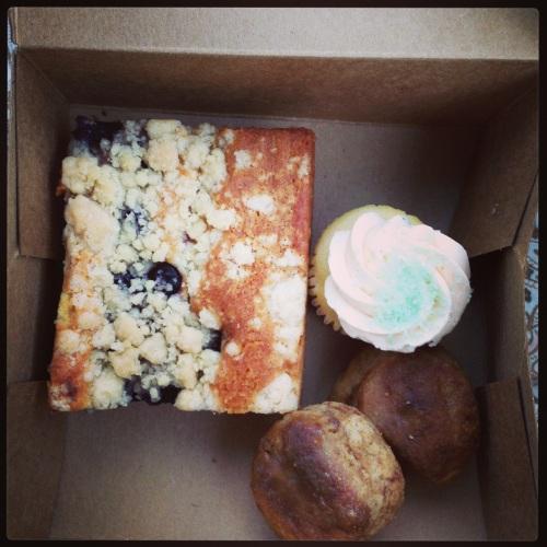 Blueberry crumb cake, peach bellini cupcake, and sweet potato scone knobs, so good!