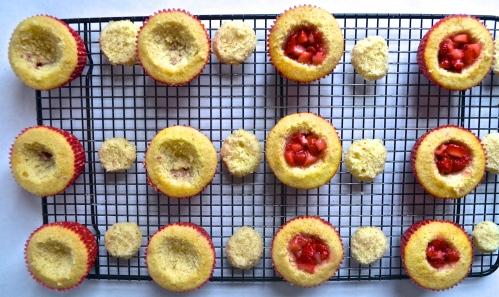 strawberry cupcakes   pale yellow {a vanilla cake with fresh strawberries, a fresh strawberry filling, & strawberry swiss meringue buttercream}