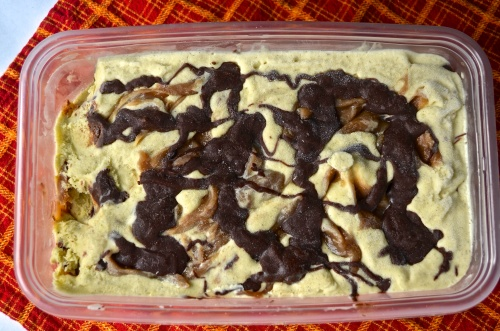 Banana Ice Cream with Peanut Butter Fudge and Chocolate Swirl | Pale Yellow
