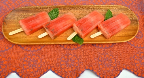 watermelon popsicles | pale yellow {fruit only popisicles with a hint of mint}