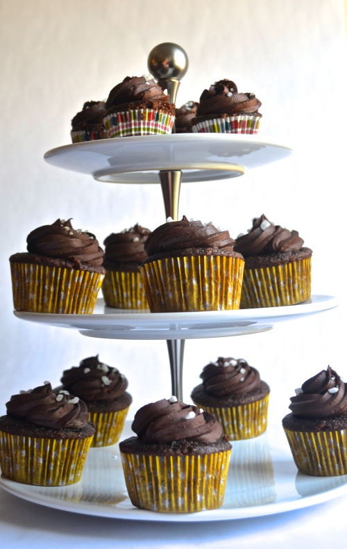 salty dark chocolate cupcakes | pale yellow {chocolate cake with a rich dark chocolate ganache and sea salt on top}