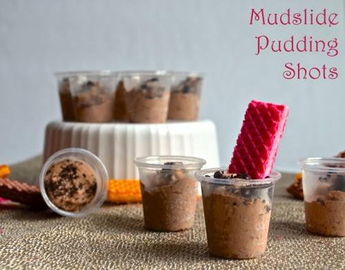 mudslide pudding shots | pale yellow {chocolate pudding with kahula and vodka served with a cookie spoon}