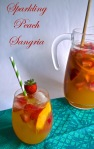 sparkling peach sangria | pale yellow {sangria made with prosecco strawberries, and peaches}