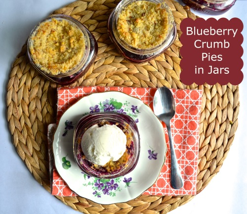 blueberry crumb pies in jars | pale yellow