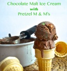 chocolate malt ice cream with pretzel m and m's | pale yellow