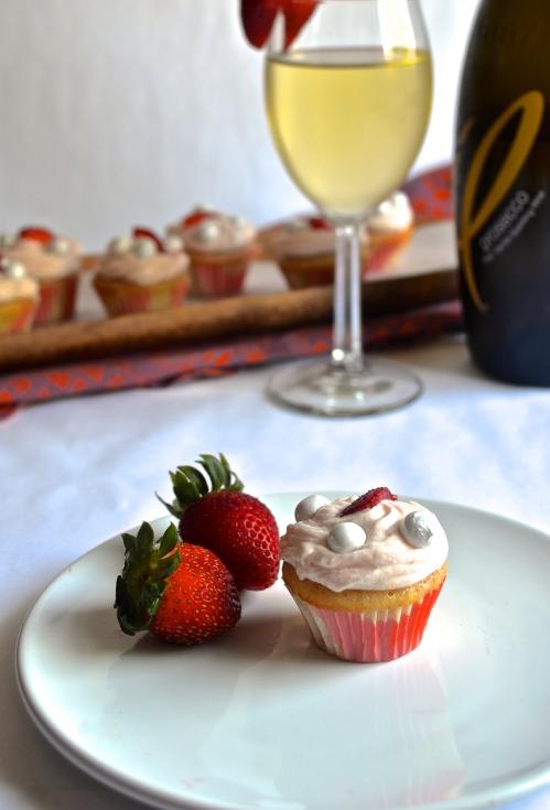 strawberry champagne cupcakes | pale yellow {mini strawberry champagne cupcakes with a strawberry buttercream}