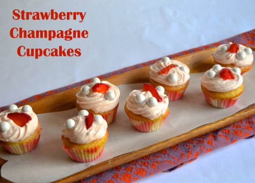strawberry champagne cupcakes | pale yellow {mini strawberry champagne cupcakes with a strawberry buttercream}