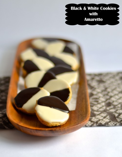 black and white cookies with amaretto | pale yellow