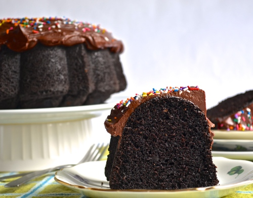 chocolate sour cream bundt cake | pale yellow