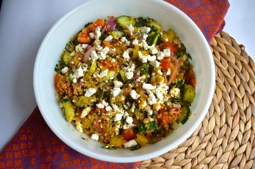 greek quinoa salad | pale yellow