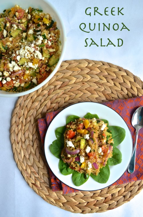 greek quinoa salad | pale yellow