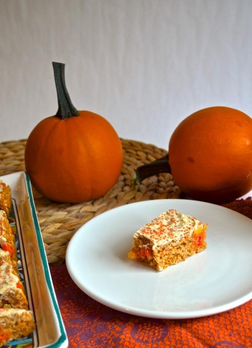 pumpkin spice candy corn rice krispy treats | pale yellow