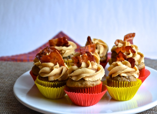 Bourbon, bacon, brown butter, banana cupcakes with peanut butter frosting | Pale Yellow