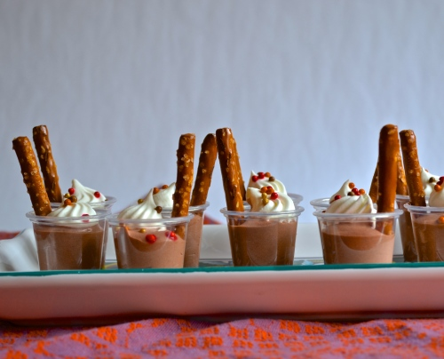 bourbon chocolate pudding shots | pale yellow