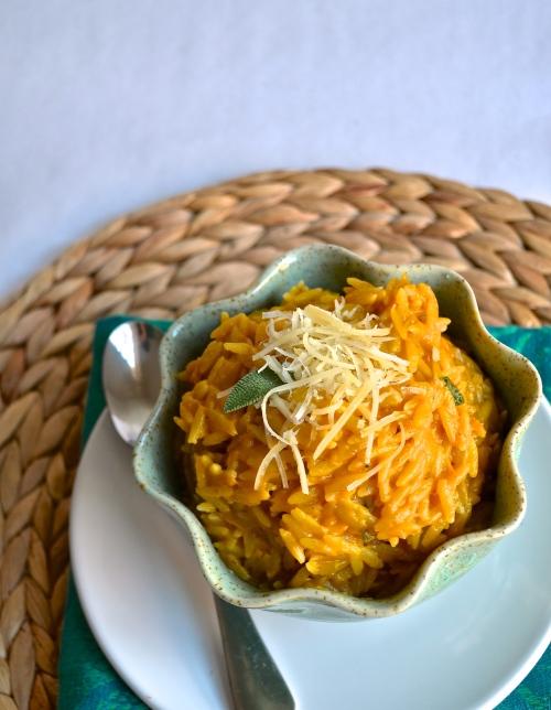Cheesy Pumpkin Orzo   Pale Yellow