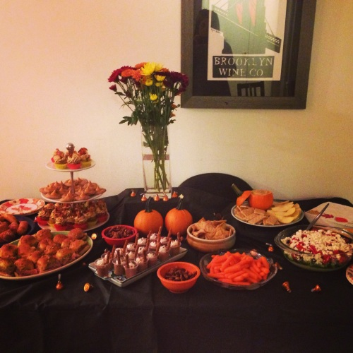 The Fall Fest (second annual and final) spread!  Here are the recipes for brown butter, bourbon, bacon, banana cupcakes with peanut butter frosting, pumpkin spice snickerdoodles, and pumpkin dip.  All the other delights were made my roommates Ruth and Andrea!  We throw an awesome party!