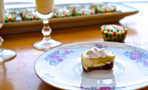 mini eggnog cheesecakes | pale yellow