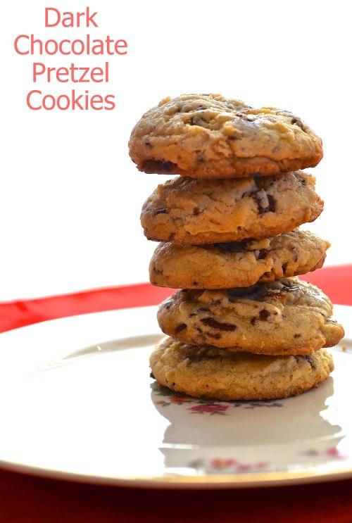 dark chocolate pretzel cookies | pale yellow