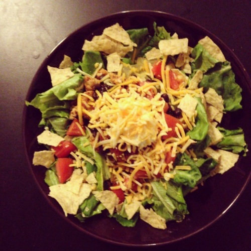 taco salad with hydroponics lettuce | pale yellow