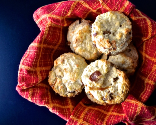 caramilized onions, bacon, and smoked gouda biscuits | pale yellow