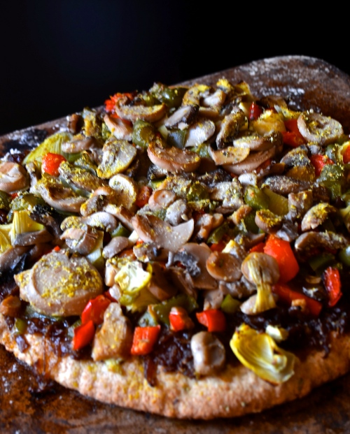 onion jam pizza | pale yellow