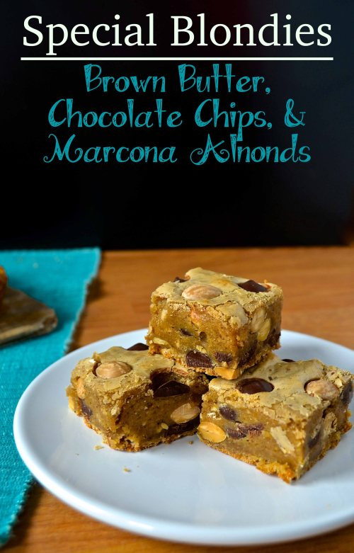 special blondies with brown butter, chocolate chips, and marcona almonds | pale yellow