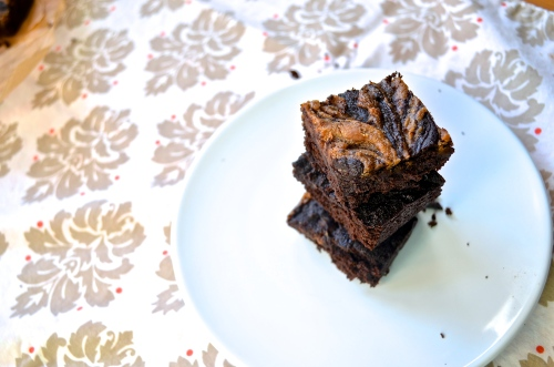 peanut butter swirl brownies GF | pale yellow