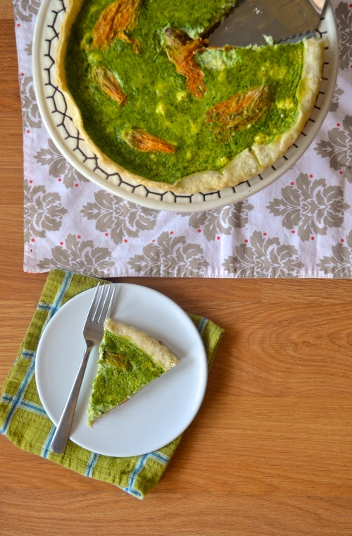 basil squash blossom quiche | pale yellow
