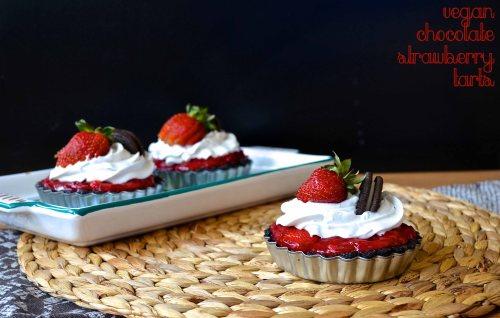 Vegan Chocolate Strawberry Tarts   Pale Yellow