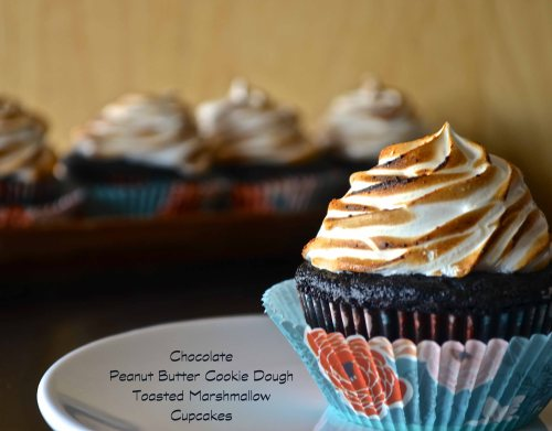Chocolate Peanut Butter Cookie Dough Toasted Marshmallow Cupcakes | Pale Yellow