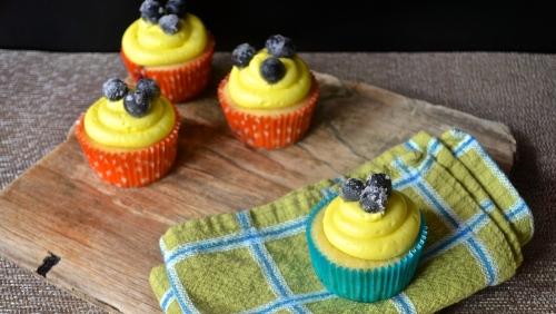 Lemon Blueberry Cupcakes | Pale Yellow