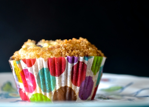 Blueberry Rhubarb Stresel Muffins | Pale Yellow
