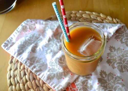 iced coffee with vanilla-almond syrup | pale yellow